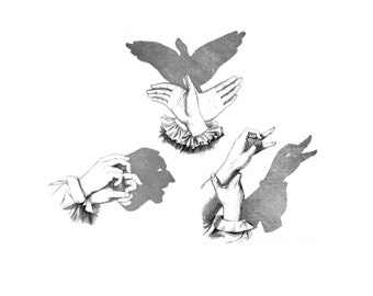 """Vintage Shadow Puppets Temporary Tattoos - """"Beyond a Shadow of a Doubt"""""""