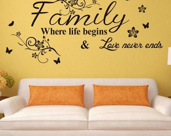 Family Where Life Begins and Love Never Ends Vinyl Wall Decal - Vinyl Wall Decal Quote - Family Wall Decal - Family Love Disney