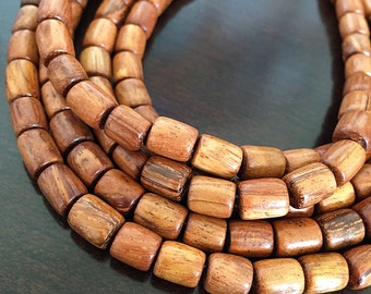 Bayong Wood Tube Beads, Natural Wood Cylinder Shaped Beads, Brown Wooden Tube Beads, 6x6mm to 8x6mm - 50 beads (WS-10)