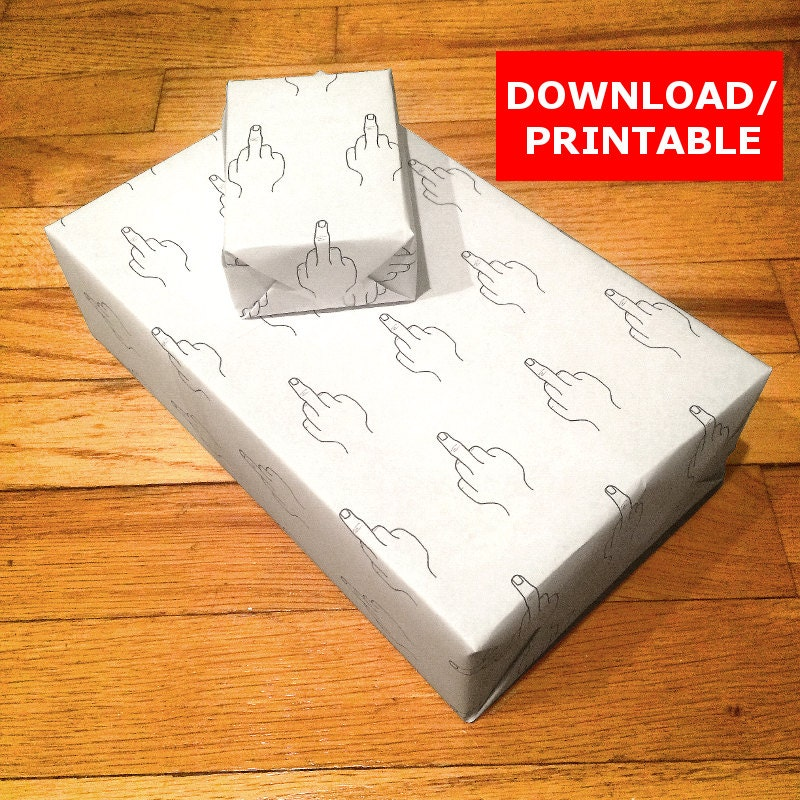 Printable Funny Wrapping Paper Middle Finger Mature Digital
