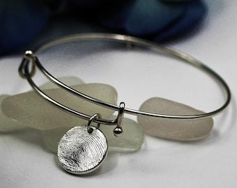 Fingerprint Bracelet Thumbprint Bracelet .999 Fine Silver Charm with .925 Adjustable Charm Bracelet Personalized Keepsake