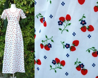 Vintage 1970s White Empire Waisted,  Strawberry Print Maxi Dress with Tie Waist
