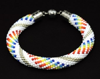 Fashion jewelry • Bead crochet bracelet • White bracelet • Beadwork bracelet • Crochet bracelet • Sead bead bracelet • Beaded bangle