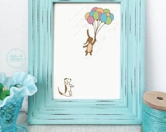 Bunny Nursery Art, 99 Balloons, Nursery Art, Up and Away