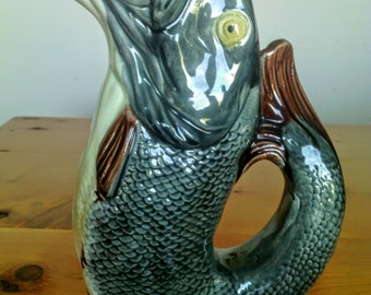 Antique Majolica Gurgling Fish Pitcher