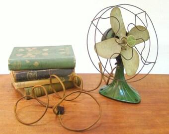 Vintage Fan; Cage Fan; Cast Iron Fan; Green Fan; Electric Fan; Sterling Fan;