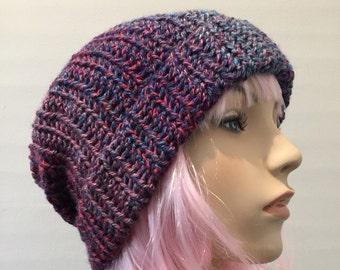 Womens beanie // womens slouch beanie hat // slouchy beanie hat // crochet beanie hat // blue beanie // purple beanie // handmade beanie hat
