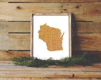 Wisconsin Wedding, Wisconsin Print, Gold Wall Art, Dorm Art, Cubicle Decor, Green Bay, University of, Wisconsin