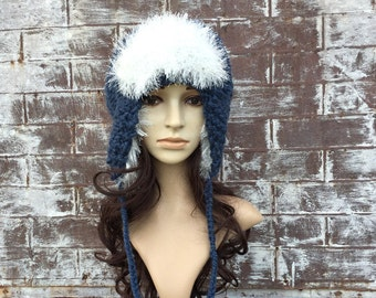 Blue Bomber WINTER HAT, AVIATOR Bomber Hat, Trapper Hat Woman, Denim Hand Knit Winter Hat