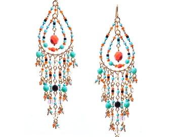 Bright Multi Color Chandelier Earrings