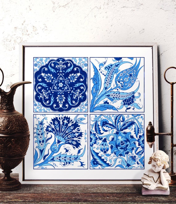 Traditional Ottoman Tulip Watercolor Wall Art Turkish Floral: Vintage Blue Carnation Watercolor Art Traditional Turkish