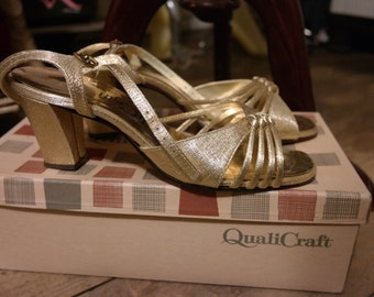 Gold Lame Strappy Square Heel Shoes by QualiCraft Vintage with Original Box