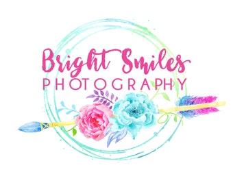 Premade Custom Logo -BRIGHT SMILES- Premade Logo, Photography Logo, Logo Design, Logo Branding, Photographer Logo, Boho Logo