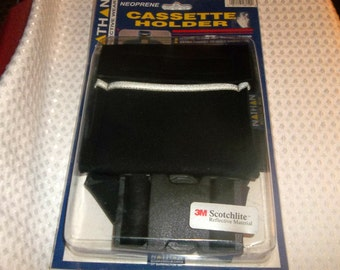 Cassette Tape FANNY PACK Holder NEW in package For Walkman Neoprene 3m Scotchlite Black Sony