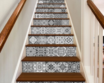 Stickers escalier etsy fr - Decoration contremarche escalier ...