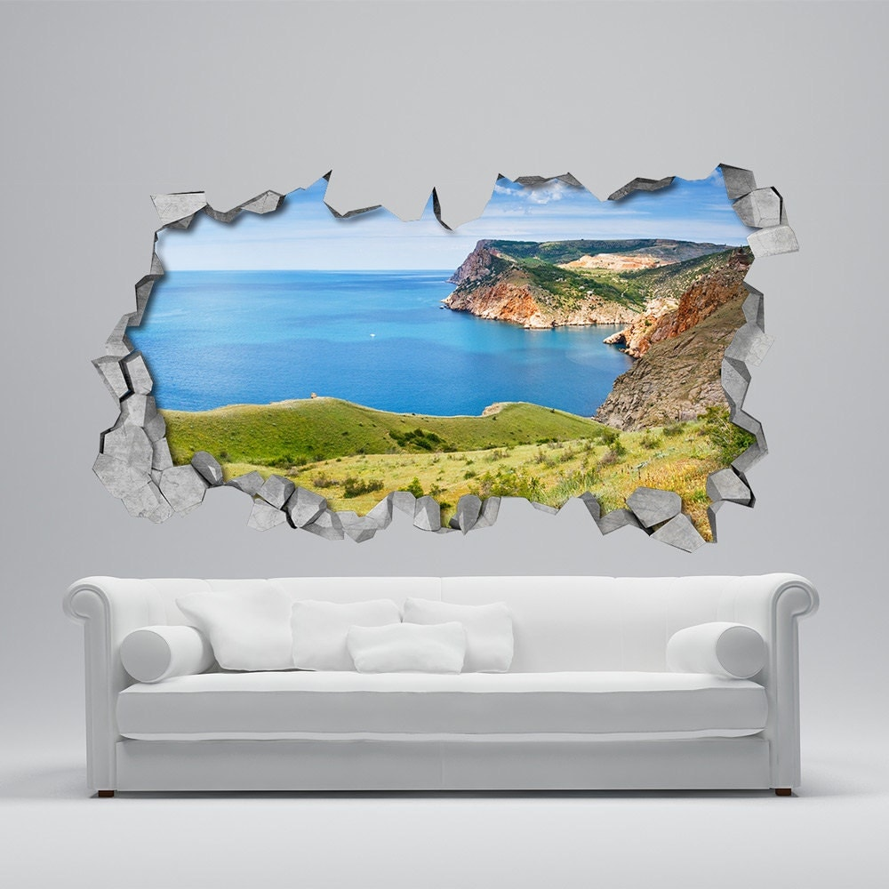 land to sea 3d wall decor 3d wall art wall sticker. Black Bedroom Furniture Sets. Home Design Ideas