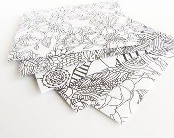 5 Adult Colouring Envelopes, Unique Black & White Handmade Patterned Envelope Pack for Money/Gifts/Jewelry, Small Stationery Set