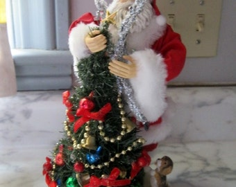 Vintage Santa With Puppy, Clothtique, Possible Dreams, Large Bottle brush tree, mercury ornaments, Sweet, 11 in