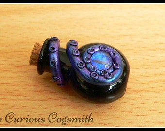 Blue & Purple Cthulhu Potion Necklace- Lovecraft Necklace - Tentacle Necklace - Kraken Necklace - Octopus Necklace - Potion Bottle