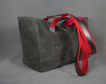 Gray Handbag, Red Handbag, Red Tote Bag, Gray Tote Bag, Gray Purse, Red Purse, Shoulder Bags, Gray Shoulder Bag, Top Handle Bags