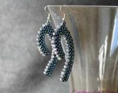 silver dangle earrings, seed bead earrings, beaded earrings, beaded jewelry, beadwork earrings, minimal earrings, earrings handmade
