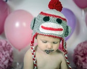 Sock Monkey Hat, Monkey Beanie, Kids Monkey Hat, Family Monkey Hat, Sock Monkey Earflaps, Toddler Monkey Hat, Monkey Trapper Hat, Unisex hat