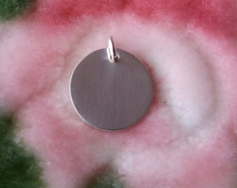 Engravable Flat Round Solid .925 Anti Tarnish Sterling Silver Pendant