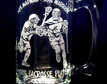 Lacrosse Mug - Etched Glass - Sandblasted Glass