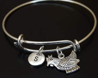 Chicken Bangle Bracelet, Adjustable Expandable Bangle Bracelet, Chicken Charm, Chicken Pendant, Chicken Jewelry, Farmers Wife, Rooster Charm