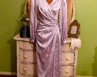 Silk Evening Gown, Anniversary Dress, Long Formal Dress, S/SM, Hollywood Glam, Silver Evening Dress, Opera Dress, Formal Vintage Dress