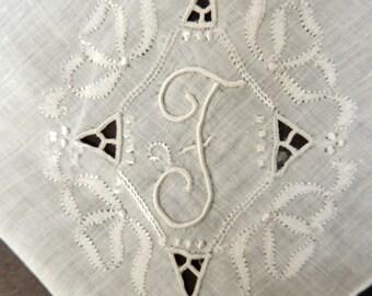 Monogram F Vintage  Handkerchief: Wedding Keepsake, Letter F Linen Hanky Letter F Bridal Hankie, Initial F Embroidered Pocket Square.  KH05