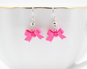 Pink Bow Earrings, Ribbon Earrings, Cute Jewelry, Handmade Jewelry
