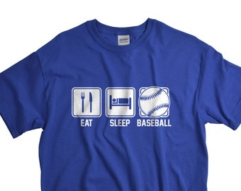 Baseball Dad Shirt - Fathers Day Gifts - Eat Sleep Shirts for Men - Mens Tshirts