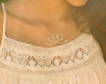 Gold Minimal Necklace, Gold Everyday Necklace , Simple Necklace Gold, Lotus Necklace, Everyday Necklace, Minimalist Necklace