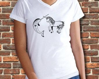 Narwhal, Narwhal shirt, Unicorn, Unicorn shirt, Animal shirt, Womens tees, Womens tshirts, Womens v neck, Animal t shirt, Whale shirt