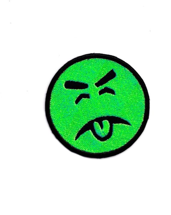 beurk emoji vert visage patch de fer et les coudre sur patch. Black Bedroom Furniture Sets. Home Design Ideas
