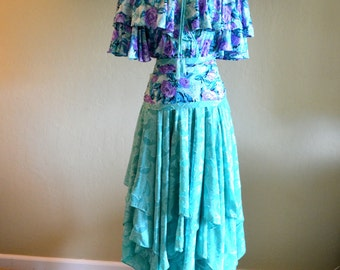 Incredible Vintage Bohemian Dress by Diane Freis, Never Worn, Green, Blue and Purple Floral Gypsy Dress, 1980s