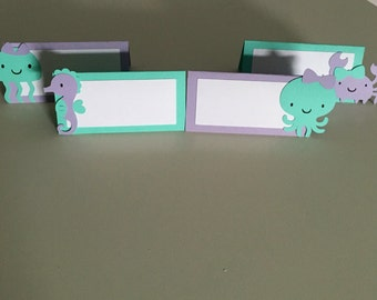 12 Mermaid Place Cards | Under the Sea Place Cards | Mermaid Food Labels | Under the Sea Food Tents | Mermaid Party Decor