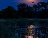 Full Moon Reflections on a Pond by Craig Colorado - Fine Art Nature Photography Print, night time water reflections, moonrise reflections