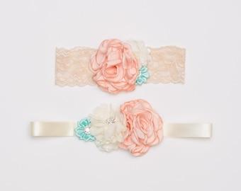 Coral, teal and cream flower sash set, Lace headband set, Vintage inspired headband, Flower girl sash, Sash, Headband, Photo prop