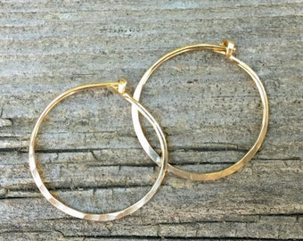 Hand-forged Hoop Earrings Sterling Silver Gold Handmade