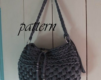 Digital crochet pattern t shirt yarn handbag/ crochet bag pattern/ crochet bag tutorial/ yarn bag pattern/ Zpagetti bag crochet pattern/.