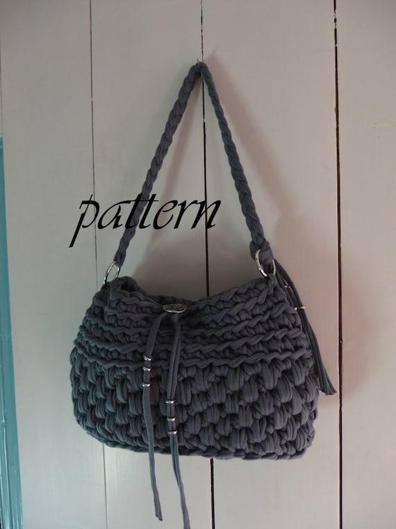 Digital crochet pattern t shirt yarn handbag/ crochet bag