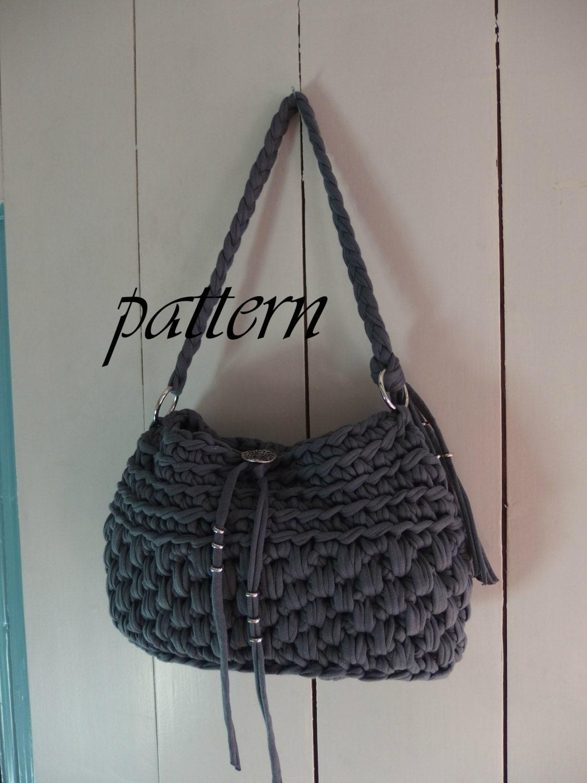 Digital Crochet Pattern T Shirt Yarn Handbag Crochet Bag