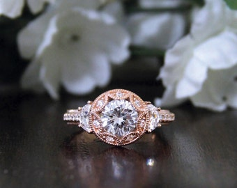 2.0 ctw Art Deco Engagement Ring-Brilliant Cut W/ Half-Moon Side-Bridal Ring-Vintage Style Ring-Rose Gold Plated-Sterling Silver [7119RG]