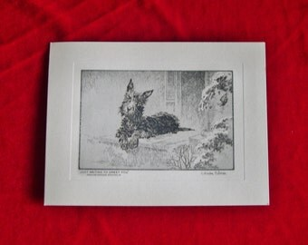 1930's Scottish Terrier Etching Christmas Card by Artist C. Winston Haberer Unused!