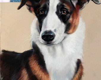 Custom pet portrait,original painting,dog cat animal,pet lover painting,unique handmade,gift idea, custom dog portrait,paslel portrait. OOAK