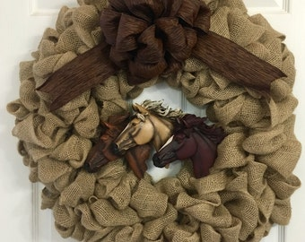 Handmade Burlap Horse Head Wreath, Multiple Bows to Choose From, Made to Order!