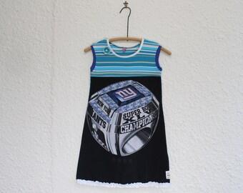 NY Giants Tshirt Dress, Superbowl XLVI Upcycled T Shirt Dress, Girls Size 8 T Shirt Dress,Sleeveless Tshirt Dress, Kid's Dress,Child's Dress