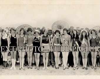 1925  Beauties Bathing Beauties Pageant Vintage Panoramic Photograph Panorama Old Photo